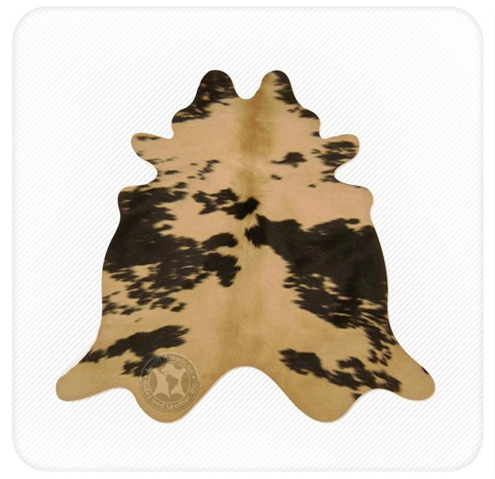 Dyed cowhide cappuccino on black