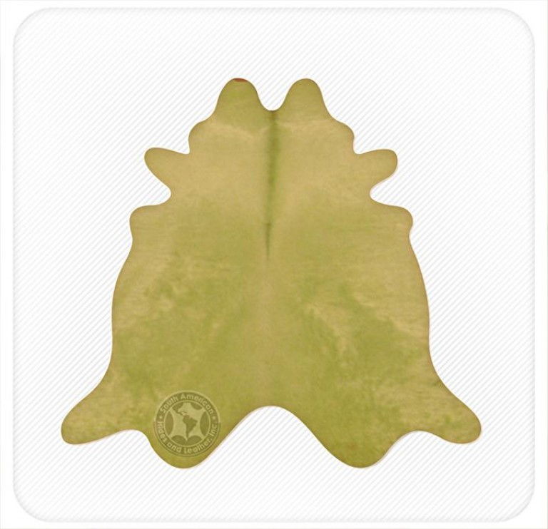 Dyed cowhide lime green