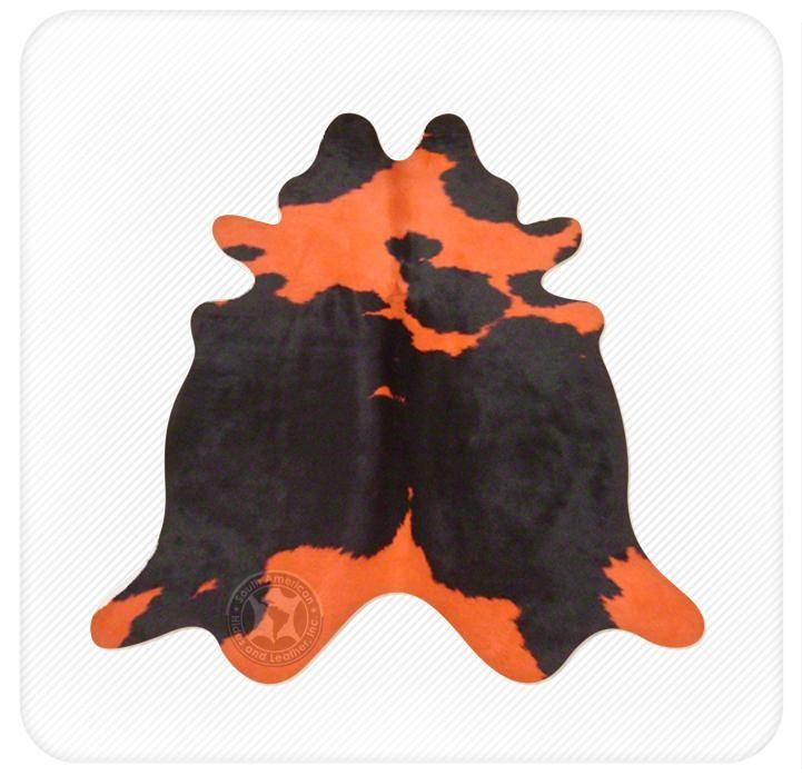 Dyed cowhide orange on black