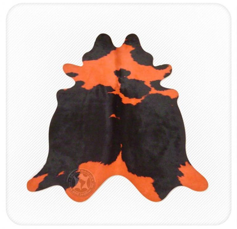 Dyed cowhide orange on black