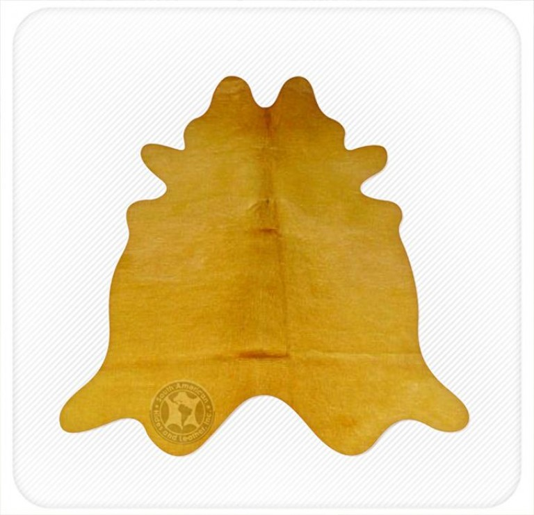 Dyed cowhide mustard yellow