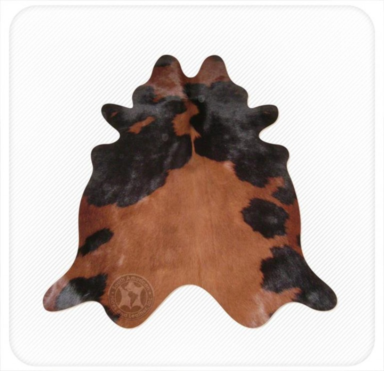 Dyed cowhide chocolate on black