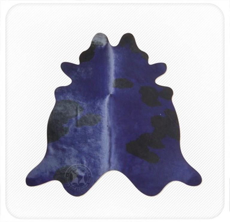Dyed cowhide navy on black