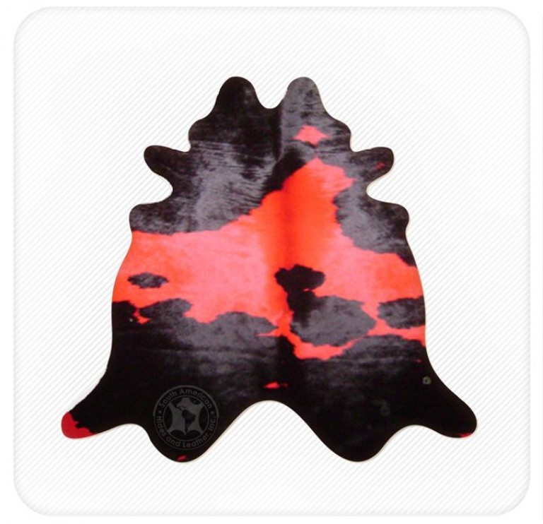 Dyed cowhide red on black
