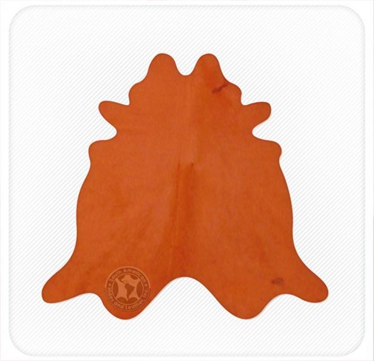 Dyed cowhide sunshine orange