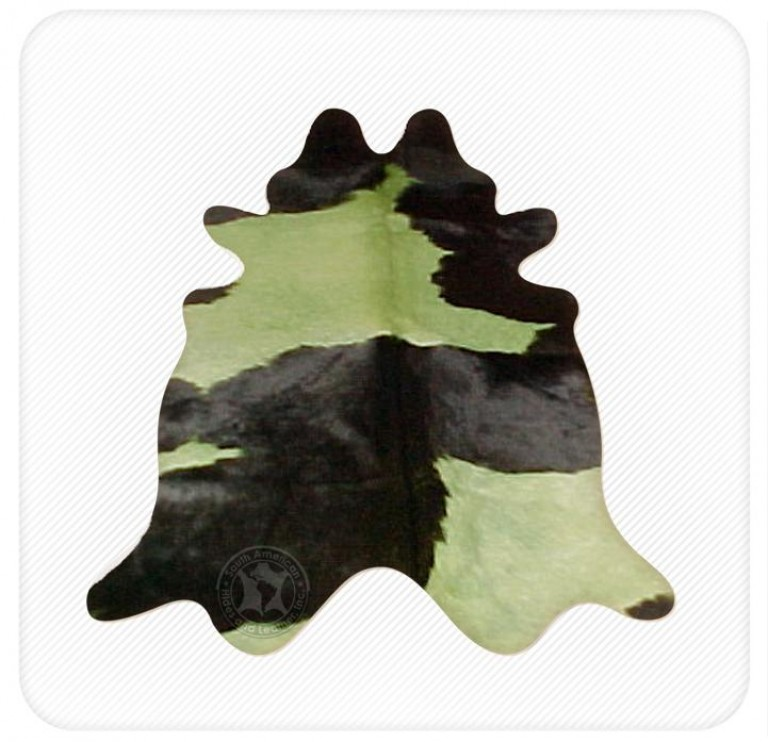 Dyed cowhide lime green on black