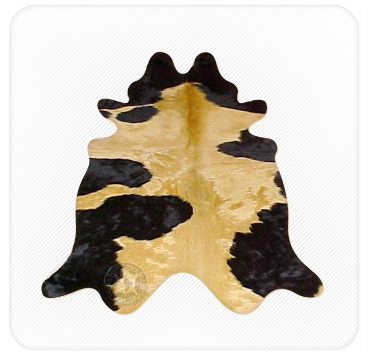 Dyed cowhide highlight yellow on black
