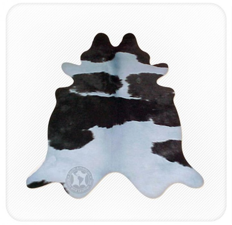 Dyed cowhide sea blue on black